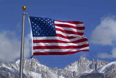 American Flag and Snow on Sierra Nevada Mountains, California, USA-David Wall-Photographic Print