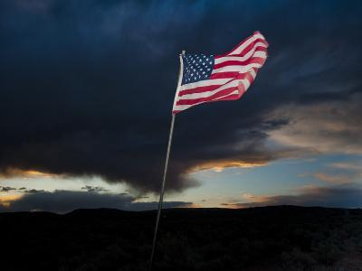 American Flag Blowing in Wind at Dusk in the Desert-James Shive-Photographic Print