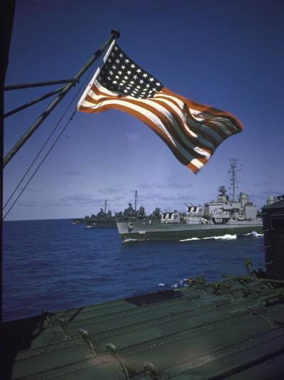 American Flag Flying over Us Navy Ships at Sea--Photographic Print