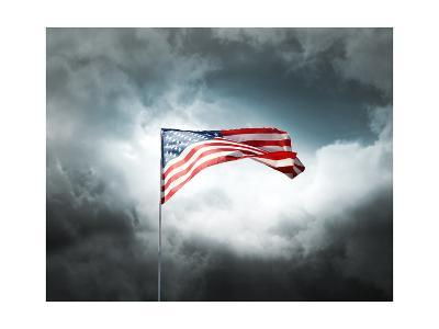 American Flag On A Cloudy Dramatic Sky-daboost-Art Print