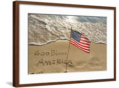 American Flag on Beach-14ktgold-Framed Photographic Print