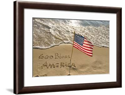 American Flag on Beach-14ktgold-Framed Photographic Print
