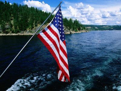 American Flag on Boat, Lake Coeur d'Alene, Coeur d'Alene, Idaho-Holger Leue-Photographic Print