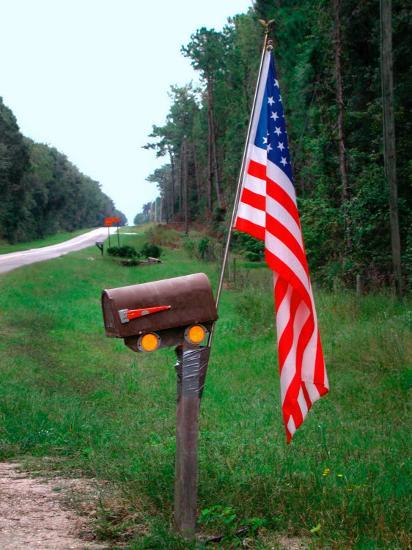American Flag on Rural Mailbox, North Florida-Pat Canova-Photographic Print