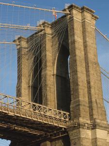 American Flag on Top of Bridge