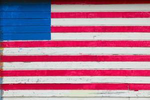 American flag painted on side of rustic dwelling along Highway 22 in Central Georgia