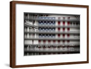 American Flag Through Window Blinds in Philadelphia, PA with Abraham Lincoln Quote