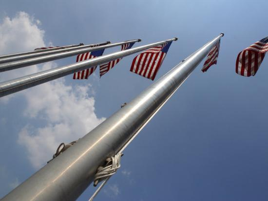 American Flags Flying on a Flag Pole in the Usa--Photographic Print