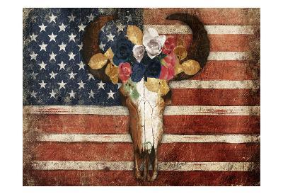 American Floral Bull-Jace Grey-Art Print