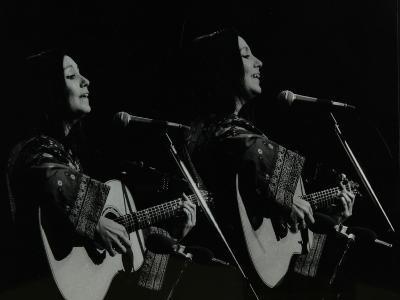 American Folk Musician Julie Felix Performing at the Forum Theatre, Hatfield, Hertfordshire, 1979-Denis Williams-Photographic Print