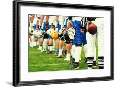 American Football Equipment - Helmet. Sport Team Concept. Football Player Boots-Pixel 4 Images-Framed Photographic Print