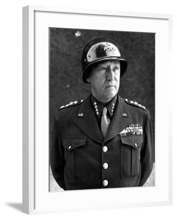 American Four Star General George S. Patton Jr, Commander of Us 3rd Army, in Uniform and Helmet--Framed Premium Photographic Print