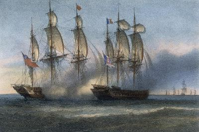 American Frigate Protecting Convoy from Attack by British Frigate--Giclee Print