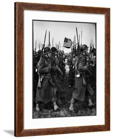 American Glider Troops' Airborne Unit on Parade at Airfield Before Eisenhower's D Day-Frank Scherschel-Framed Photographic Print