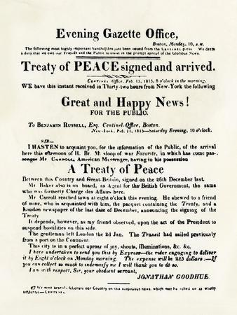 American Handbill Announcing the Treaty of Ghent, Ending the War of 1812