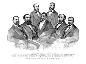 American History Print of the First African American Senator and Representatives