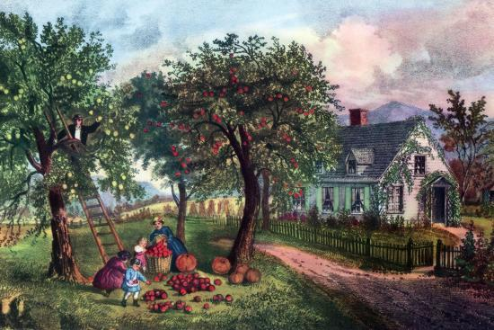 American Homestead in Autumn, 1869-Currier & Ives-Giclee Print