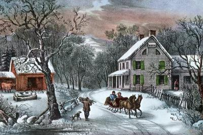 American Homestead in Winter, 1868-Currier & Ives-Giclee Print