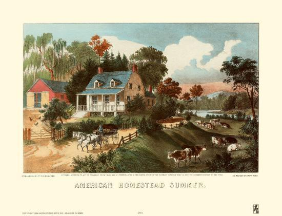 American Homestead Summer-Currier & Ives-Art Print