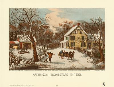 American Homestead Winter-Currier & Ives-Art Print