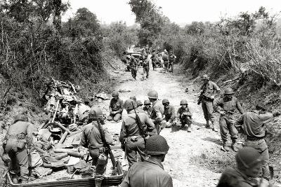 American Infantrymen Fighting with the Germans Near Saint-Lô, Normandy, France, July 1944--Photographic Print