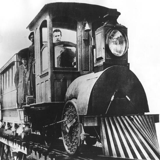 American Inventor Thomas Alva Edison on Board an Electric Railroad, 1892--Giclee Print
