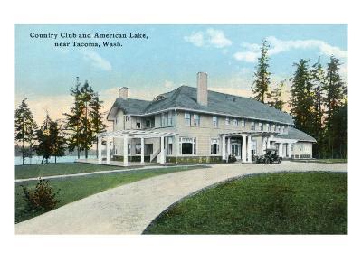 American Lake, Washington, Exterior View of the Country Club near Tacoma-Lantern Press-Art Print