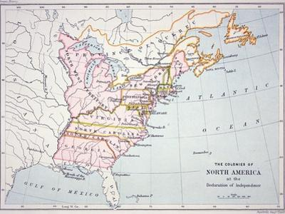 Map of the Colonies of North America at the Time of the Declaration of Independence by American