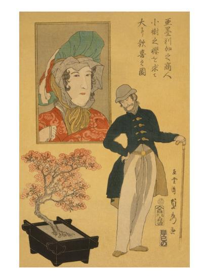 American Merchant Delighted with Miniature Cherry Tree-Sadahide Utagawa-Art Print
