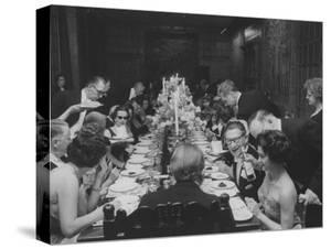 American Millionaire Paul Getty Eating Dinner with His Guests