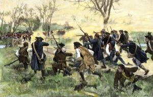 American Minutemen Fight to Hold Off the British Army at Concord Bridge, April 10, 1775