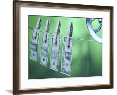 American Money Hanging on Clothes Line--Framed Photographic Print