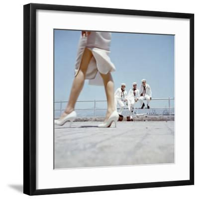American Navy 7th Fleet Sailors on Shore Leave in Hong Kong, China, 1957-Hank Walker-Framed Photographic Print