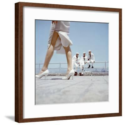 American Navy 7th Fleet Sailors on Shore Leave in Hong Kong, China, 1957-Hank Walker-Framed Photographic Print