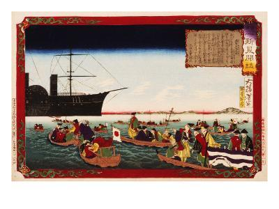 American Navy Commodore Matthew Perry arrives in Japan, August 7, 1853, Woodblock Print-Taiso Yoshitoshi-Giclee Print
