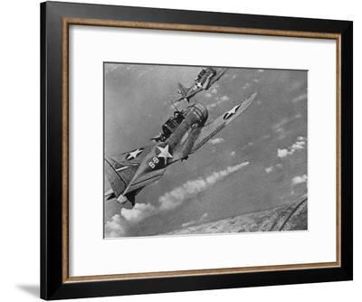 American Navy Torpedo Bombers Fly over Burning Japanese Ship During the Battle of Midway--Framed Premium Photographic Print