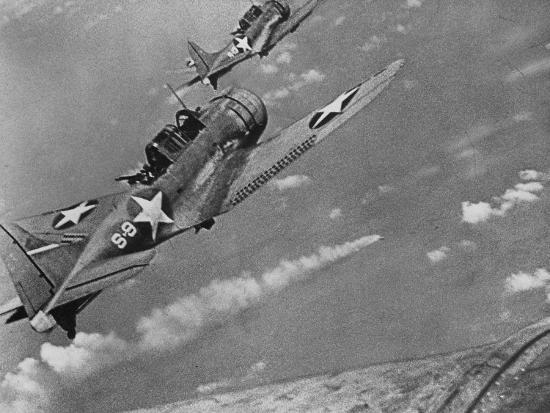 American Navy Torpedo Bombers Fly over Burning Japanese Ship During the Battle of Midway--Photographic Print