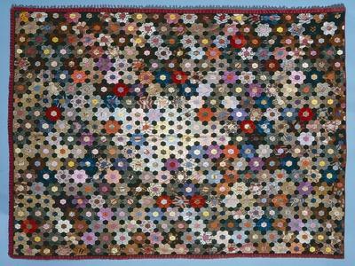 Optical Flower Puzzle Quilt, 1854 (Silk)