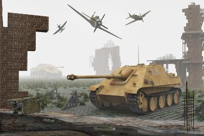 American P-47 Fighter Planes Attacking German Jagdpanther Tanks--Art Print