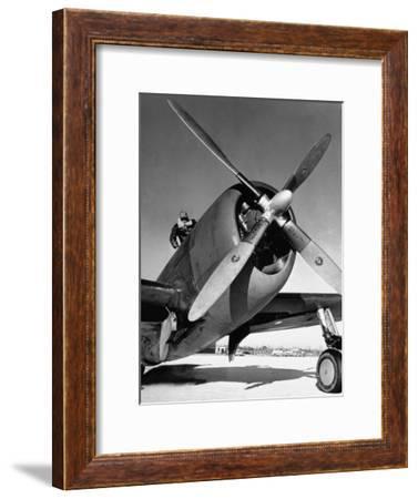 American P-47 Thunderbolt Fighter Plane and its Pilot-Dmitri Kessel-Framed Premium Photographic Print