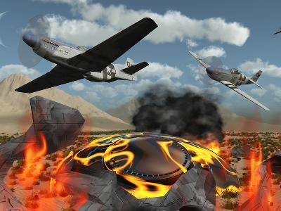 American P-51 Mustang Fighter Planes Destroy a UFO-Stocktrek Images-Photographic Print