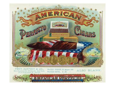 American Perfecto Cigars Brand Cigar Box Label-Lantern Press-Art Print