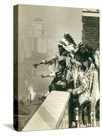 Blackfoot Indians on the Roof of the McAlpin Hotel, Refusing to Sleep in their Rooms, New York City