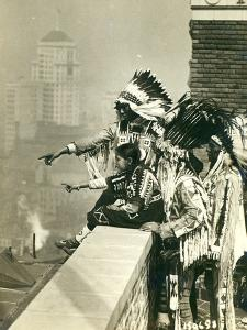 Blackfoot Indians on the Roof of the McAlpin Hotel, Refusing to Sleep in their Rooms, New York City by American Photographer