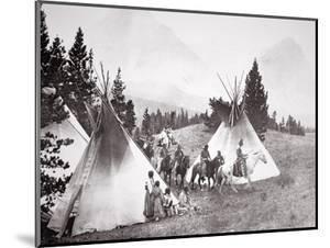 Native American Teepee Camp, Montana, C.1900 (B/W Photo) by American Photographer
