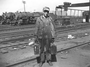 Railroad Worker, C.1900 (B/W Photo) by American Photographer