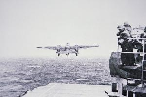 The Doolittle Raid on Tokyo 18th April 1942: One of 16 B-25 Bombers Leaves the Deck of USS Hornet by American Photographer