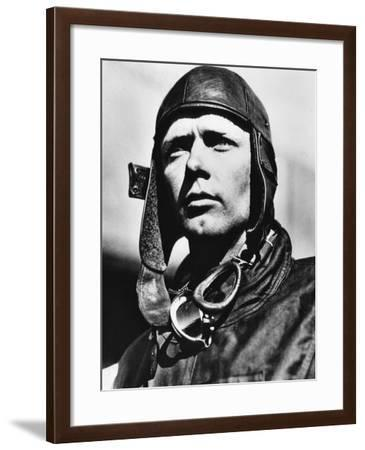 American Pilot Charles Lindbergh, at Mitchell Field in Long Island, New York, 1927--Framed Photo