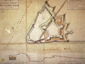 Plan of the New Fort at Pittsburgh, November 1759 (Hand Coloured Engraving) by American