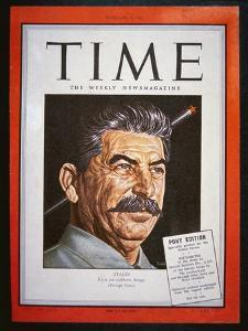 Portrait of Stalin on the Cover of 'Time' Magazine, 1945 (Colour Litho) by American